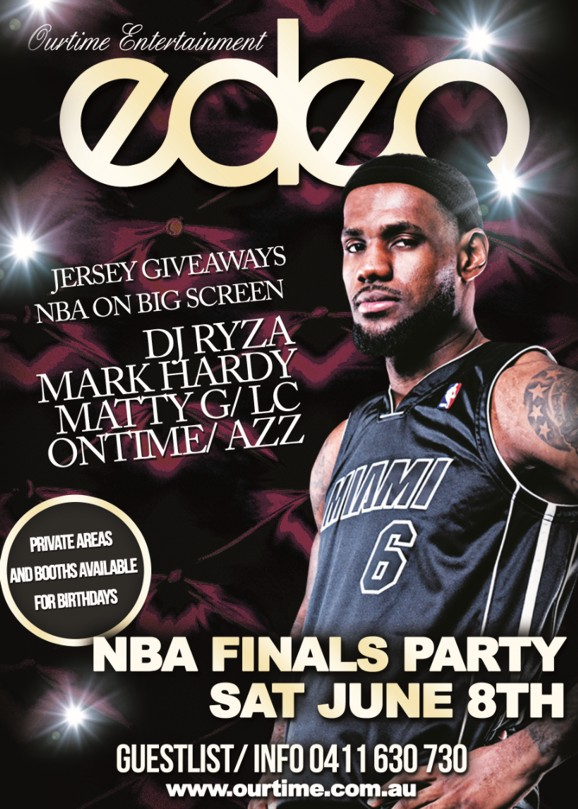 OurTime Entertainment eden  Jersey Giveaways NBA on Big Screen  DJ Ryza Mark Hardy Matty G/LC Ontime/Azz  Private Areas and Booths Available for Birthdays  NBA Finals Party Sat June 8th  Guestlists/Info SMS 0411 630 730 Eden Bar Melbourne: Lvl1/163 Russell St Melbourne www.ourtime.com.au
