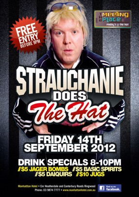 The Meeting Place Fridays @ The Hat  Free Entry Before 9pm  Strauchanie Does The Hat  Friday 14th September 2012  Drink Specials 8-10pm //$5 Jager Bombs //$5 Basic Spirits //$5 Daiquiris //$10 Jugs  Manhattan Hotel - Cnr Heatherdale and Canterbury Roads, Ringwood Phone: 03 9874 7777 - www.manhattanhotel.com.au find us on facebook