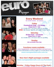click to see Every Weekend NO COVER CHARGE - all weekend  Friday Passionfruit Pulp + DJ Rowie Happy Hours 5-7pm $3.5 Stella Pots | $4 house wines & sparkling NEW: $6 House Spirits all night from 5pm!  Saturday Action Sam + DJ Rowie Happy Hours 8-10pm $3.5 Stella Pots | $4 house wines & sparkling  Sunday Live accoustic from 7pm  Function Rooms  Hens Nights