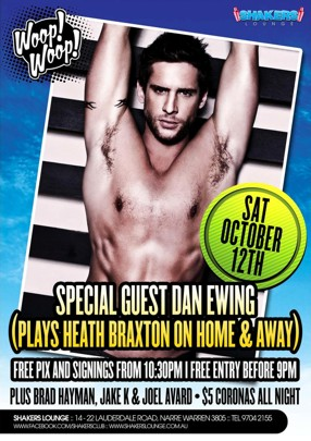 Home & Away's Dan Ewing (Heath Braxton) Saturday
