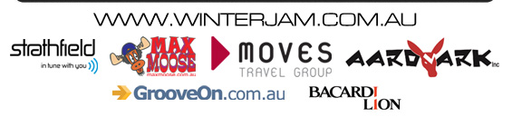 www.winterjam.com.au  strathfield in tune with you  Max Moose  Moves Travel Group  Aardvark  Bacardi Lion
